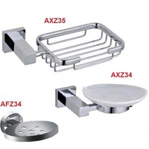 Bathroom Luxury Square Ceramic / Square Holder & Soap Dish / MODERN ROUND BRASS