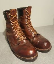 VINTAGE RED WING BROWN LEATHER BOOTS SUMMER WINTER FASHION RARE FOOTWEAR SHOE 10