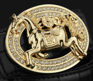 MENS WOMENS DESIGNER  3D PIN BUCKLE 38 MM UNISEX BELT BUCKLES HORSE DIAMONDS UK