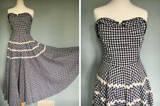 Vintage Original 1950's 50s strapless gingham dress circle skirt ricrac boned