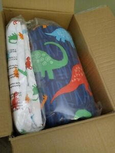 Amazon Basics Twin  - Kid's Bed In A Bag. Dinosaur Themed Multi- Color