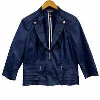 WHBM White House Black Market Navy Military Style Blazer Jacket Women's Size 12