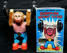 Vintage Champion Weight Lifter Toy Yano Man Toys, Japan 1960's WITH Original Box