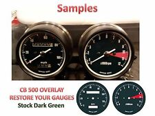 Honda CB500 Overlay Cafe Racer Gauge Face Decal Applique MPH Green Dial Clock 73