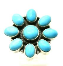 "Southwest Turquoise Flower Sterling Silver 925 Ring   10g 6.25"" KAT1143"