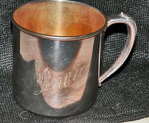 "Heavy Fine c1910 Tudor Plate Oneida Community ""David"" Handled Goldwashed Cup"