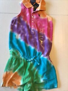 Polo Ralph Lauren Girl's Size 6 tie dye Romper sleeveless cotton  shorts