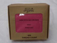 4 Piece 100% Organic Cotton Bed Sheet Set 600 Thread 15'' Deep Pocket King Size