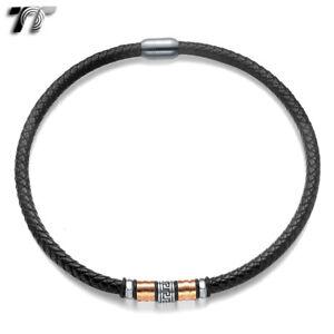 TT 8mm Black Leather Greek Key S.Steel Magnet Buckle Collar Necklace Rose (CL14)