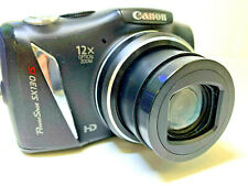 Canon PowerShot SX130 IS 12.1MP Digital Camera Black TESTED w/SD Card