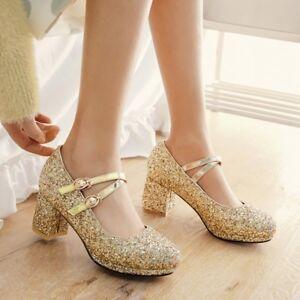 Fashion Women Round Toe Buckle Strap Block Heels Sequins Glitter Shoes Lolita