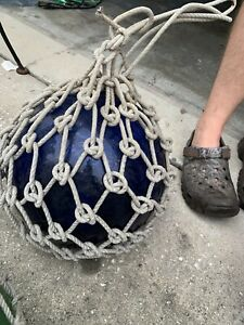 "Large 12"" Antique Japanese Purple/blue Glass Fishing Ball Float Buoy  Net Marked"