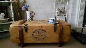 Industrial French Vintage Army Rustic Trunk Chest Coffee Table Blanket box TVST