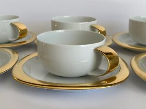 Rosenthal Concept 2 Suomi Gold Cups and Saucers Set of 6