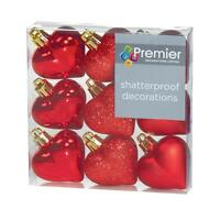 Christmas Tree Decoration 9 Pack 40mm Shatterproof Heart Baubles - Red