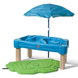 Sand Box Sand Table Water Toys Kids Outdoor Umbrella Cascading Plastic Cover New
