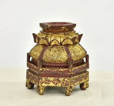 Antique Chinese Red & Gilt Wooden Carving / Altar Stand, Qing Dynasty, 19th c