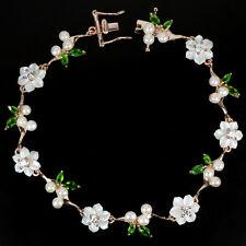 Sterling Silver 925 Rose Gold Chrome Diopside Pearl Mother Pearl Bracelet 7.5