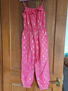 GORGEOUS Girls Age 7 Hot Pink and Gold Jumpsuit with Straps by MONSOON