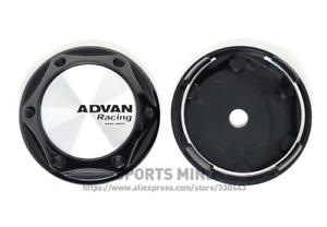 4pcs 68mm Advan Racing Logo Wheel Center Caps Hubcaps Rim Caps Badges Silver