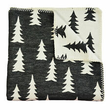 Scandinavian Swedish Organic cotton kids Baby Crib Cot Pram Blanket - Gran Black
