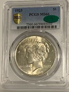 UNREAL LOOKING 1923 PEACE DOLLAR  PCGS & CAC  SO CLEAN ITS AMAZING