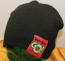 "ANGRY BIRDS ""GO!"" ADULT SIZE BLACK BEANIE ACRYLIC OSFM IN VERY GOOD CONDITION"