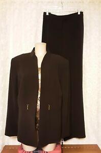 Tahari Sz 18 Brown 3 Piece Pant Suit NWT