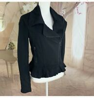 7 for All Mankind Women's Asymmetrical Black Zip Moto jacket Size Small
