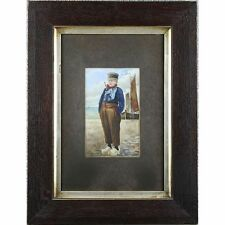 Signed Framed Original Antique Dutch Fisherboy Watercolour Painting c1900