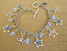 Celestial Stars and MOONstone Traditional Mid Century Silver Charm Bracelet