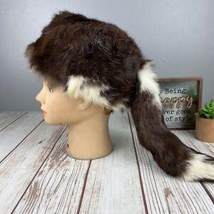 Vintage Genuine Skunk Rump Brown White Trapper Davy Crockett Fur Hat - M 7 1/8