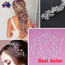 Silver Stone Diamante Pearls Wedding Bridal Hair Vine Crystal Headband Headpiece