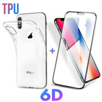 Für iPhone XS X Panzerglasfolie 6D Full Screen Curved Glas Hülle Silikon Case