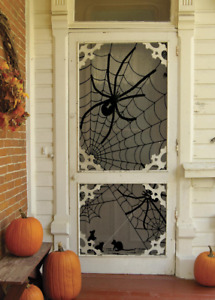 "Heritage Lace Halloween TANGLED WEB Black Scenic Panel 38""Wx84""L  Made in USA!"