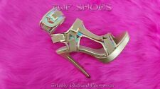 "Scorpio Gold Hologram Strap 5"" High Heel Harness Strap Shoe US Sizes 7-10"