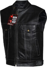 Mens Club Style Solid Leather Motorcycle Biker Leather Vest Concealed Carry