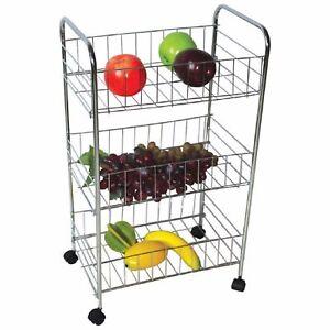 3 Tier Kitchen Trolley Wheeled Cart Vegetable Rack Fruit Basket Storage Unit New