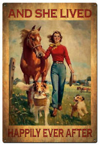 And She Lived Happily Every - Tin Sign - Dogs & Horses