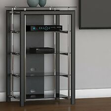 Black Chrome Media Stand Audio Tower Electronics Cabinet Blu-ray Stereo Shelves