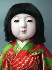 Vintage Japanese Ichimatsu Girl Doll Gofun Glass Eyes Human Hair Silk Kimono