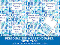 Personalised Happy 18th Birthday Wrapping paper - Male Blue 18th Gift Wrap
