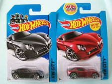 Hot Wheels 2014 HW City ALFA ROMEO 8C COMPETIZIONE x2 (Red & Black) #29/250 NIP