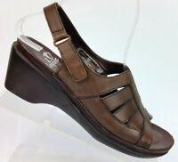 I Love Comfort Barbara Brown Leather Wedge Sandals 18706 Women's US 7M EU 38.5