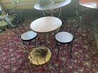 """Antique Ice Cream Parlor Set Table & 4 Chairs 24"""" Table"""