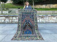 VINTAGE TURKISH OUSHAK RUG TRIBAL COLORFUL LOW PILE HANDMADE WOOL RUNNER AREARUG