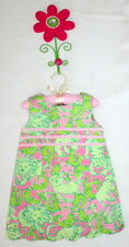 LILLY PULITZER Jungle Scalloped Shift Dress Green Pink Animal Girl Size 2 2T
