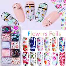 Nature Flowers Nail Foils Transfer Stickers Decals Colorful Butterfly DIY Tips