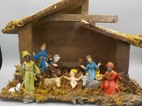Vintage Christmas Nativity Manger Scene Italy Creche Set Baby Jesus Animals