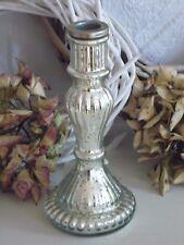 Kerzenleuchter,Kerzenhalter,Bauernsilber,Glas Silber, Shabby,Antique Chic, 20 cm